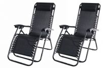 2  x Zero Gravity Folding Garden Lounge Chairs - Black